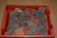 A large and interesting study group of 50+ shards from Roman pottery vessels, all found in Suffolk. SOLD